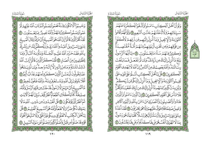 صفحه 119 قران (سوره مائده) – استخاره با قران